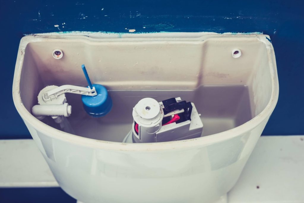 inside view of toilet tank parts